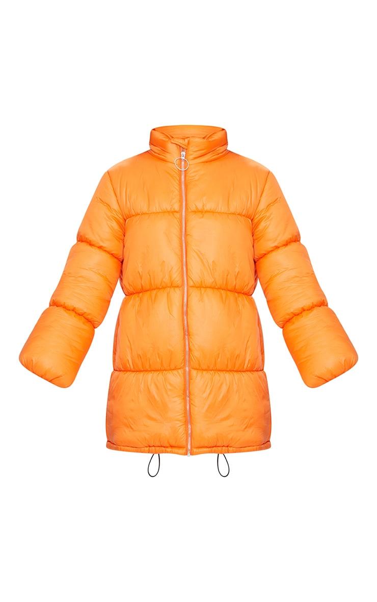 Orange Ring Pull Longline Puffer Jacket 3