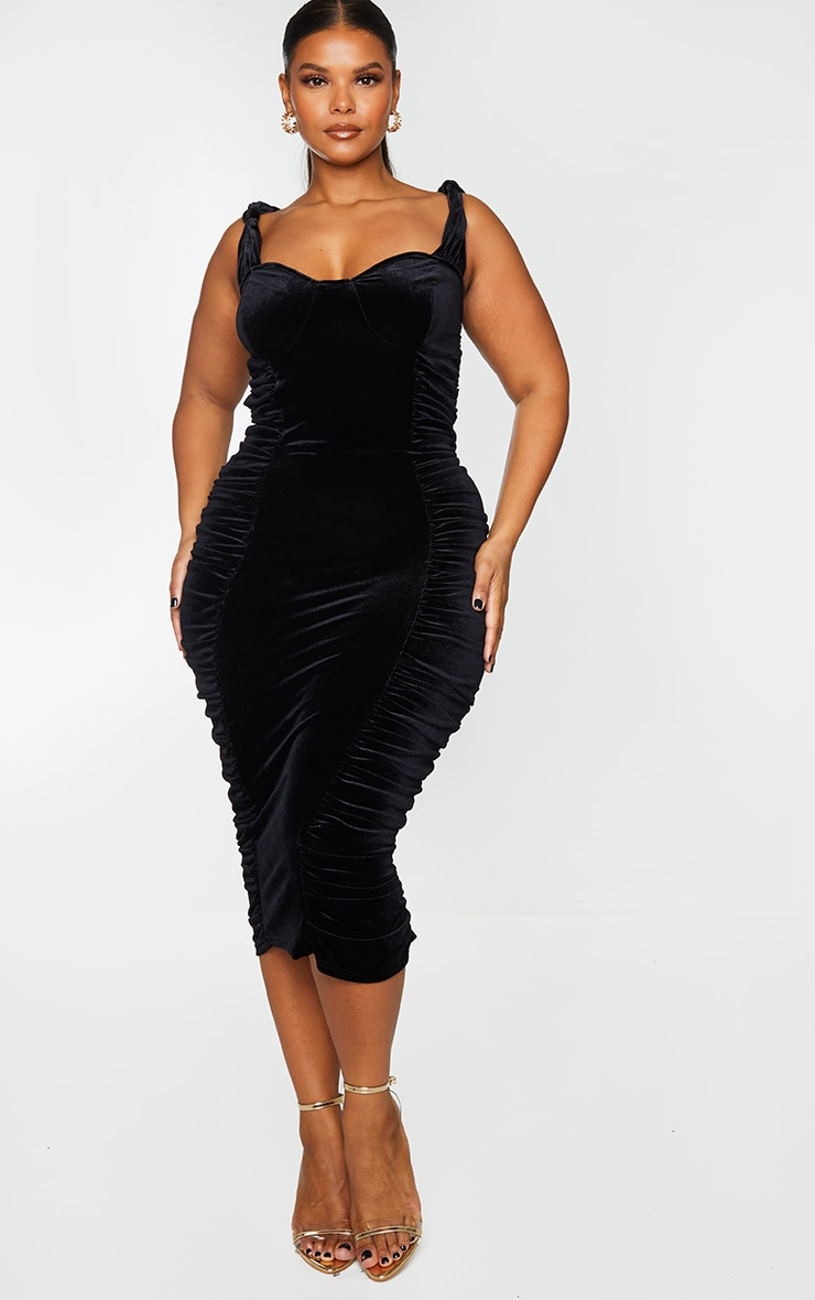 Plus Black Velvet Extreme Ruched Side Detail Midi Dress 1