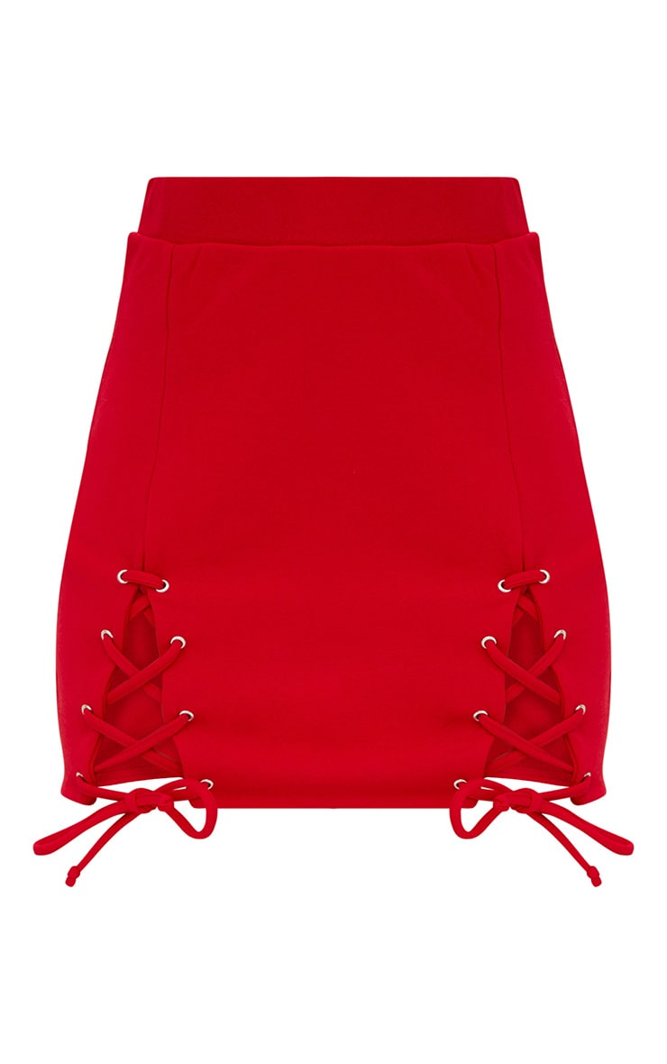 Red Double Split Lace Up Mini Skirt 3