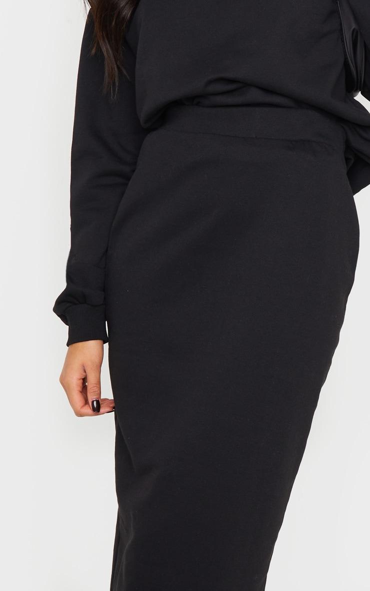 Black Crew Neck Sweater & Midi Skirt Set 4