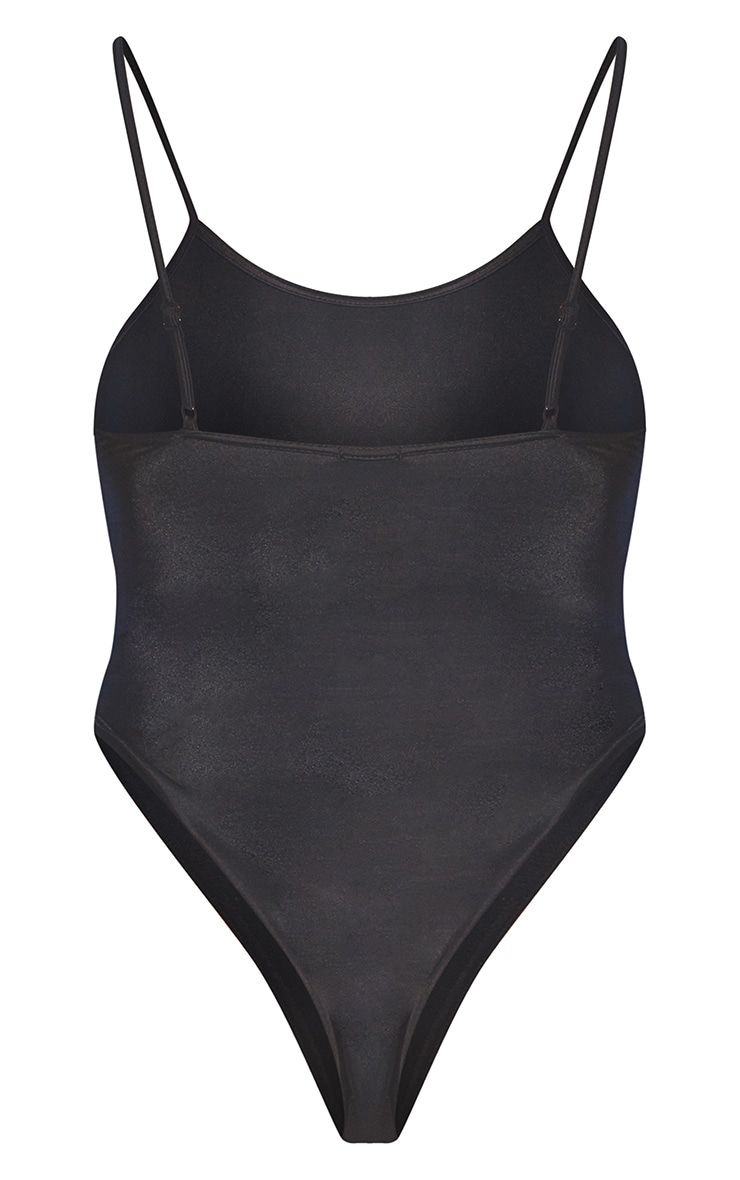Black Recycled Fabric Scoop Neck Swimsuit 6