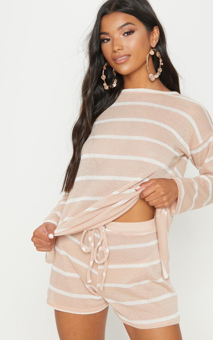 Sand Lightweight Knit Tie Waist Short 1