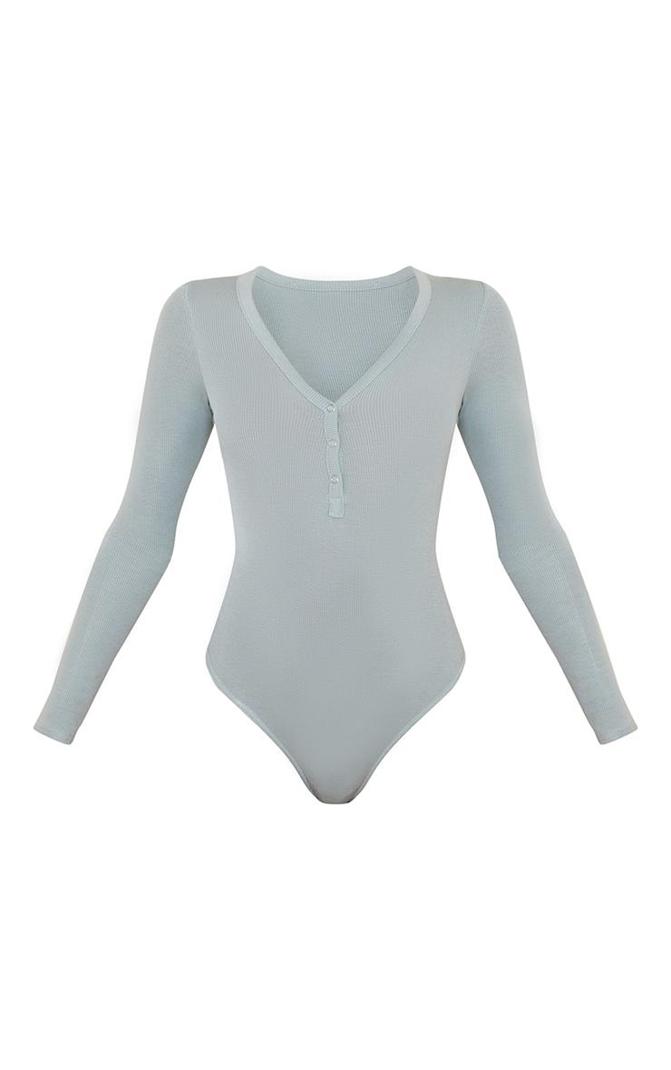 Blue Long Sleeve Popper Detail Thong Bodysuit 5