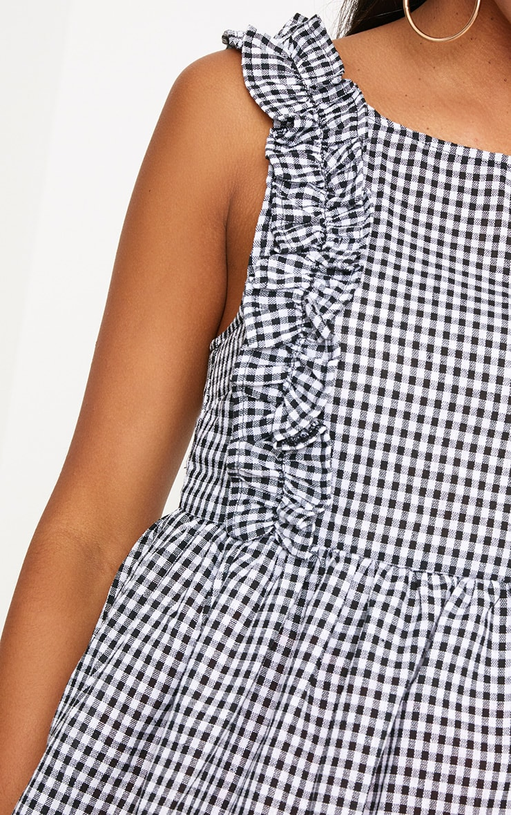 Black Gingham Frill Smock Top 5
