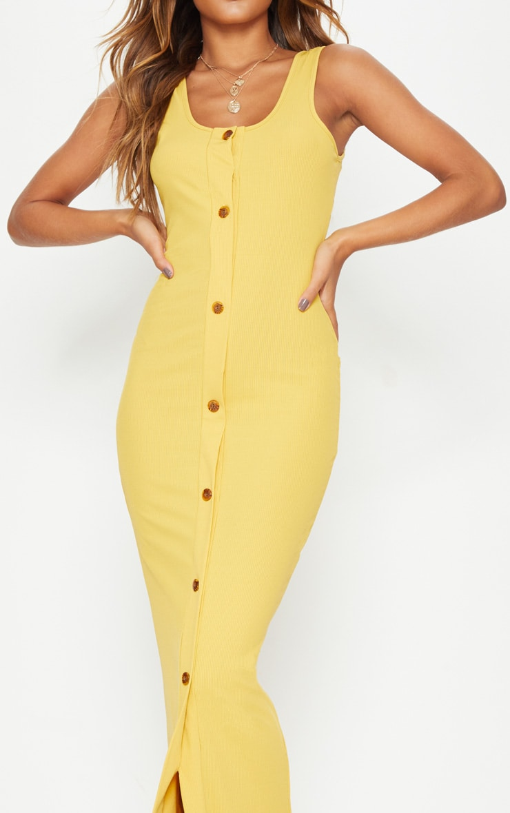 Mustard Ribbed Button Detail Maxi Dress 5