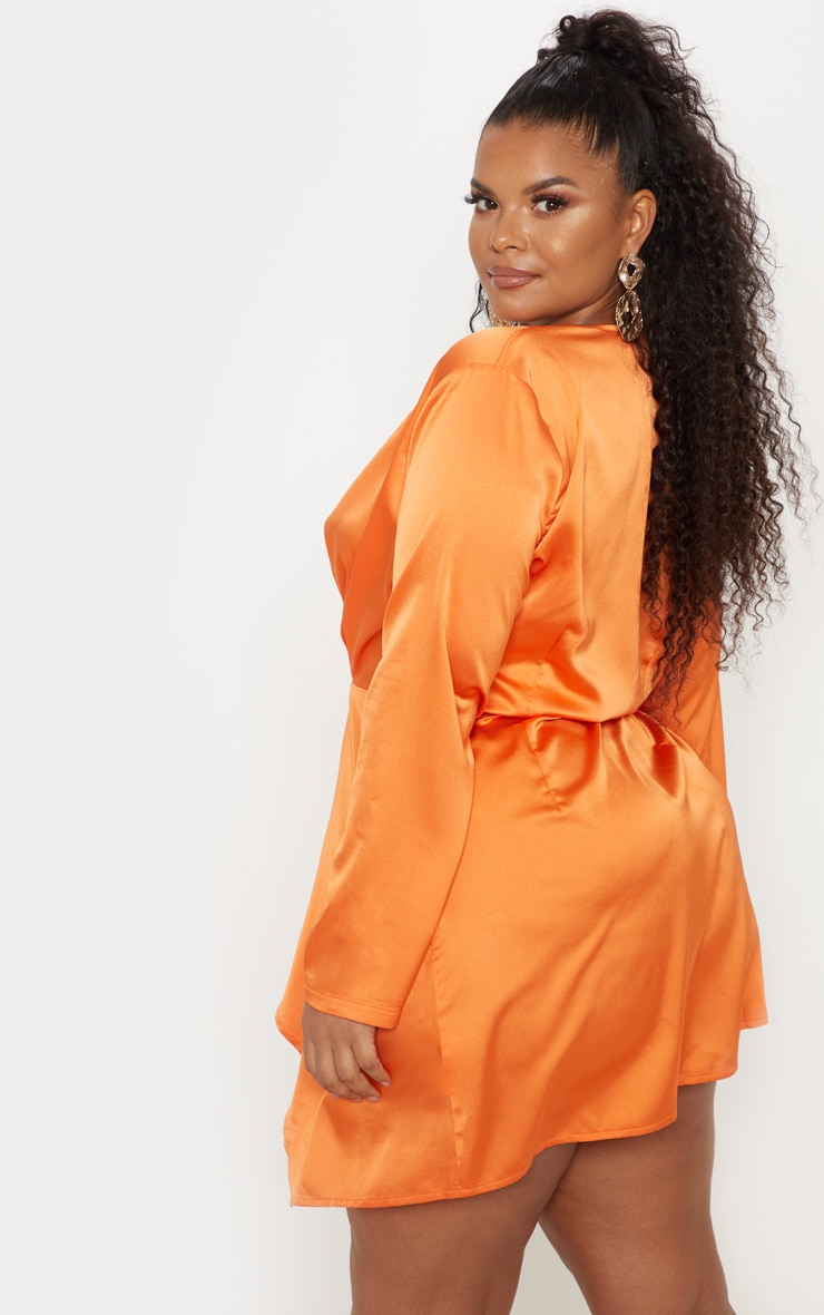 Plus Orange Satin Long Sleeve Wrap Dress 2
