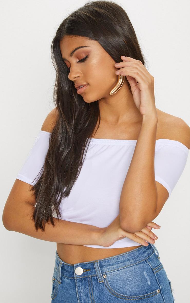 Basic Black/White 2 Pack Bardot Crop Top  9