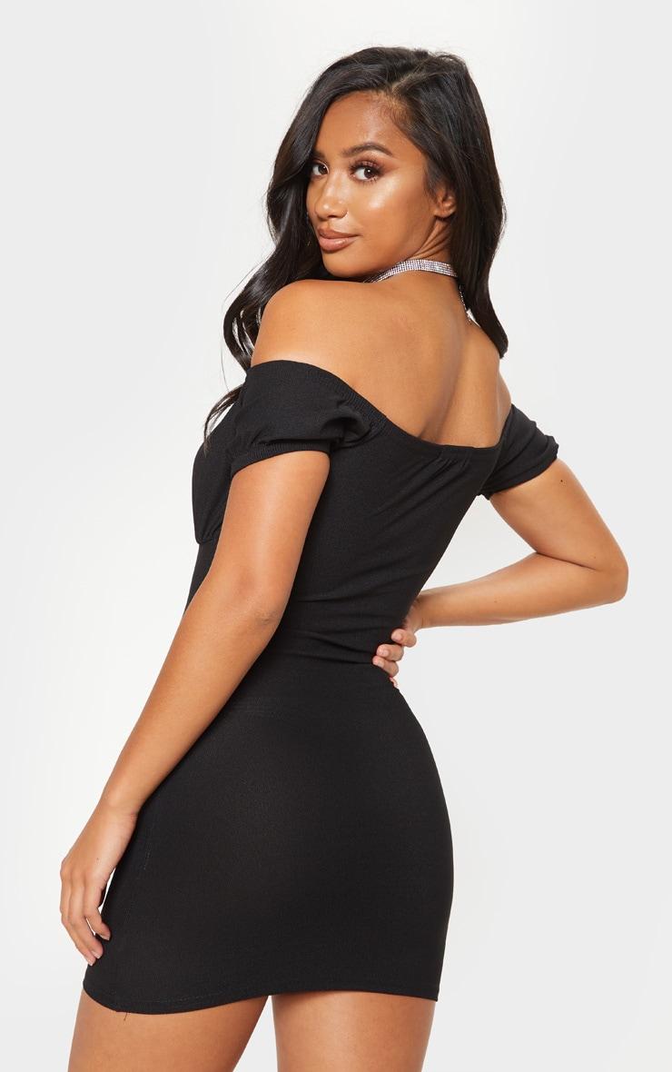 Petite - Mini robe noire à buste froncé oeillets et crochets 2