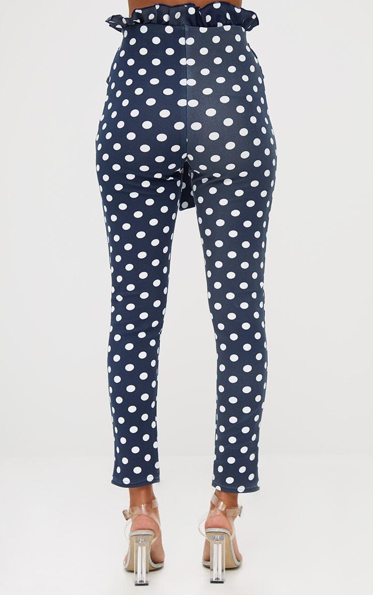 Navy Polka Dot Paperbag Waist Skinny Trousers 4