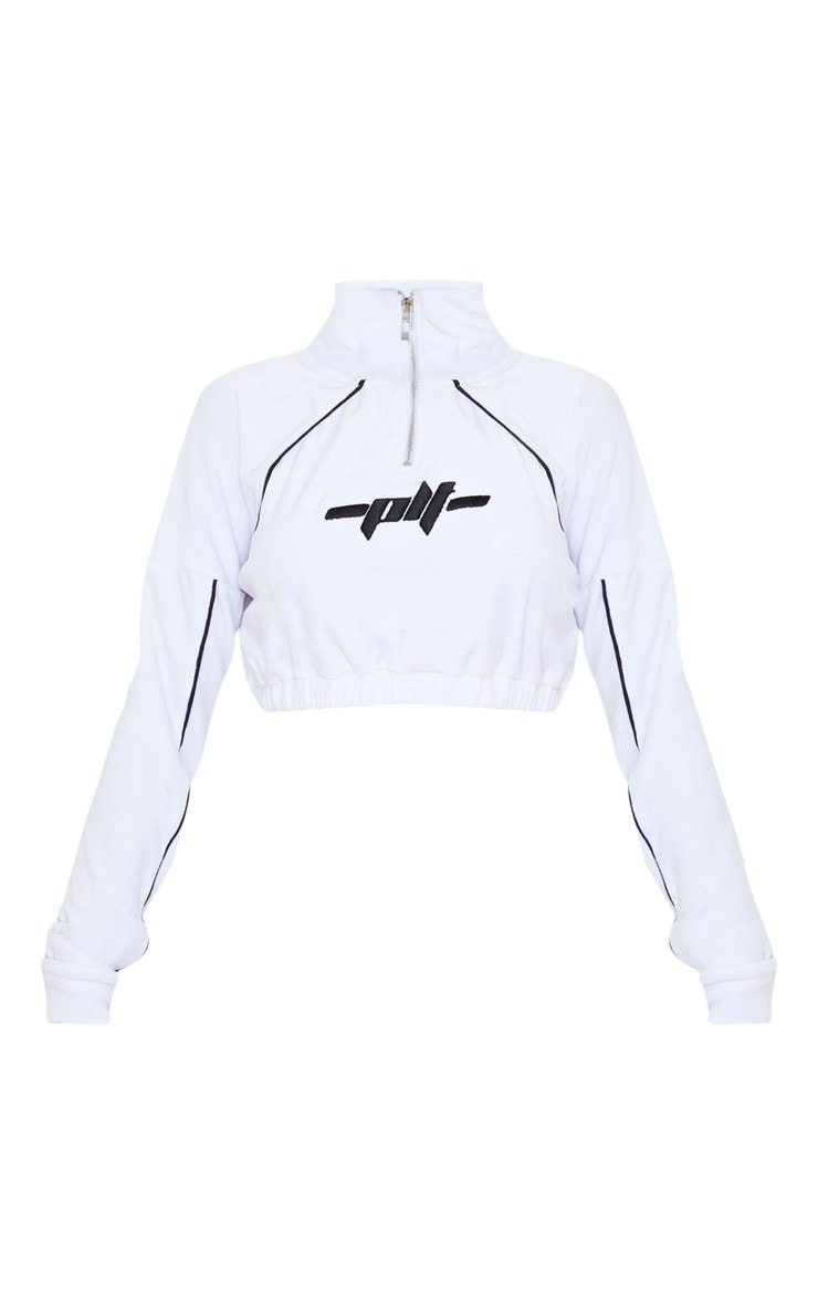 PRETTYLITLETHING White Contrast Velour Funnel Neck Stripe Cropped Sweat 3