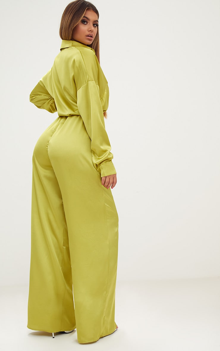 Lime Extreme Oversized Satin Wide Leg Jumpsuit  2