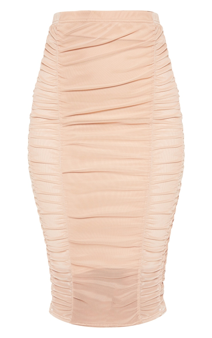 Camel Second Skin Ruched Mesh Midi Skirt 2