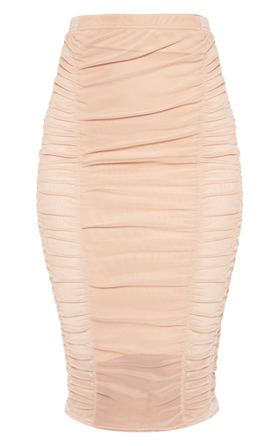 Camel Second Skin Ruched Mesh Midi Skirt