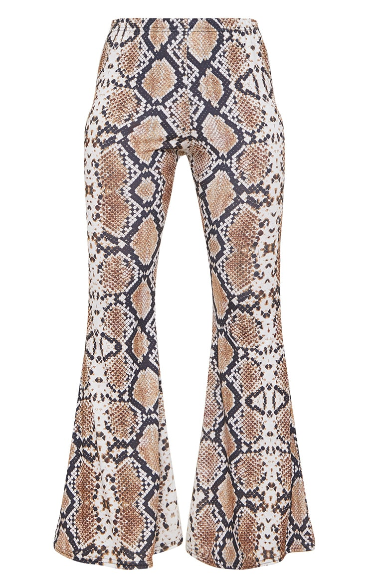 Petite White Snake Print Flared Trousers 4