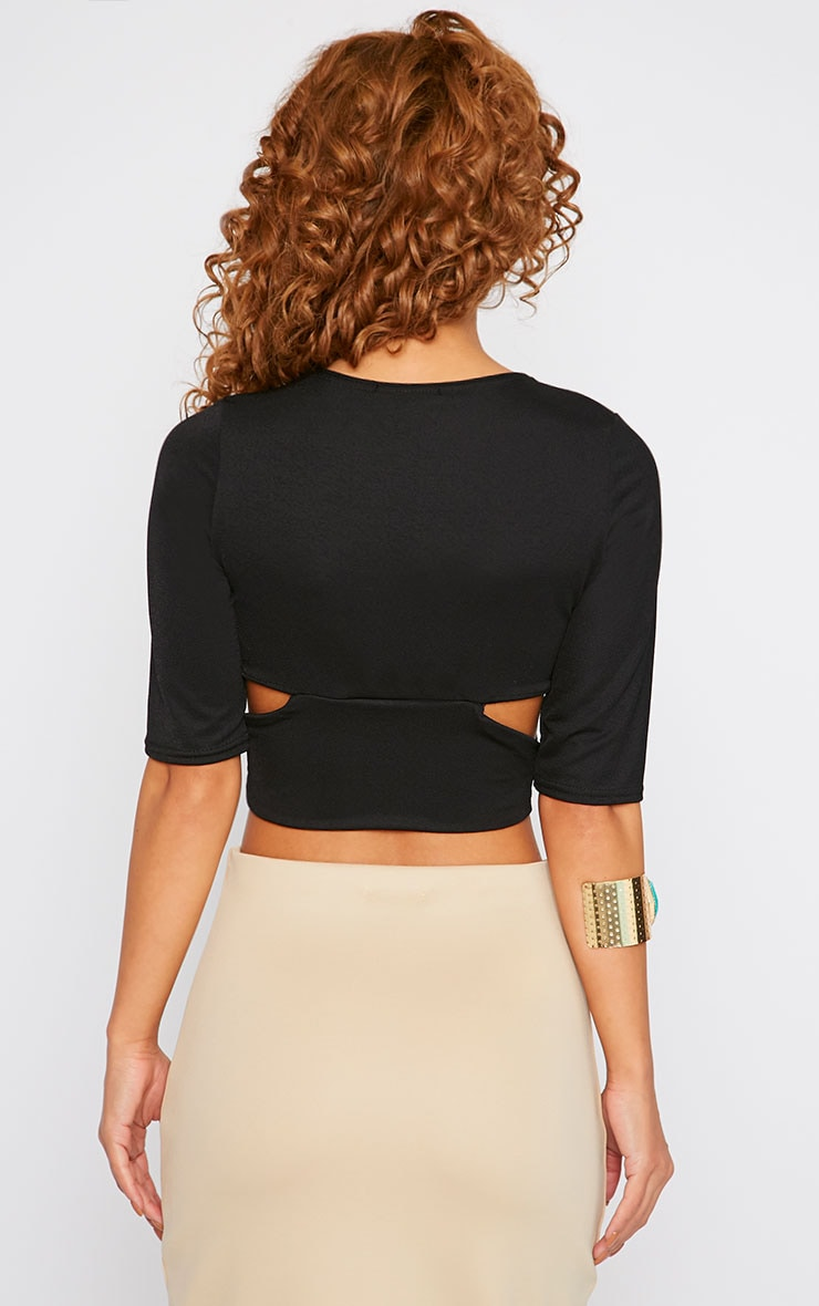 Nessa Black Cross Over Crop Top  2