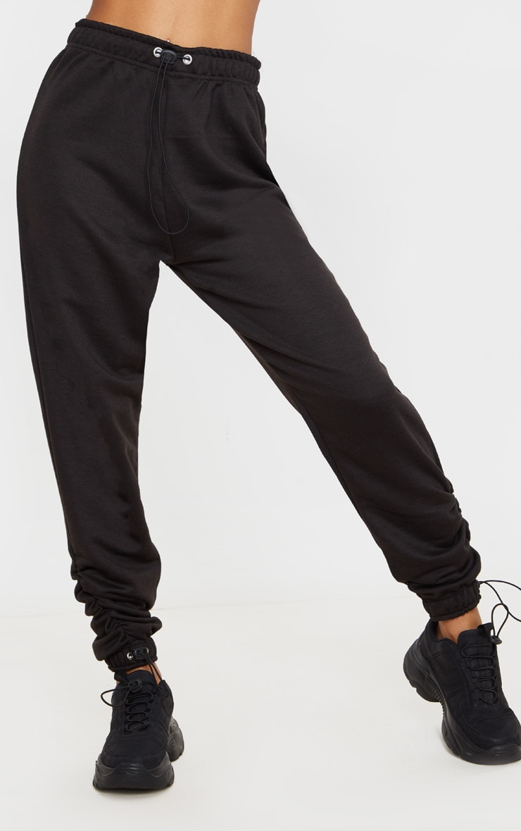 Black Toggle Detail Ruched Jogger 2