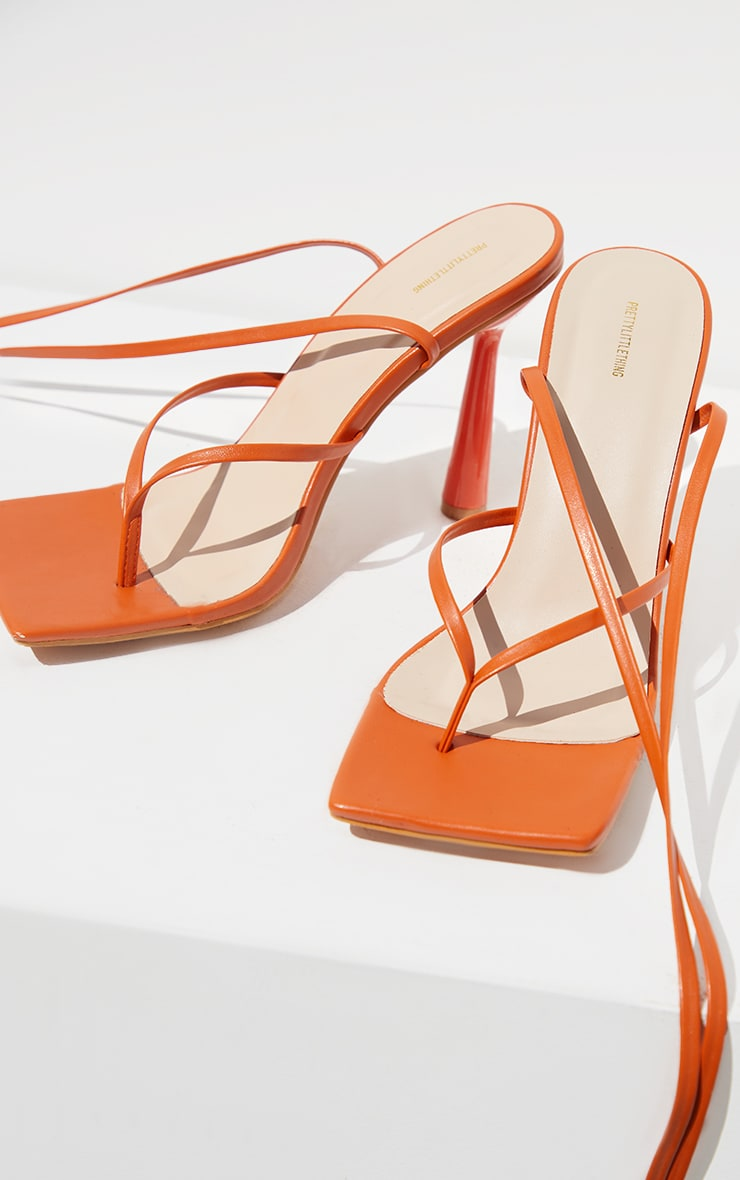 Orange PU Toe Thong Lace Up Circle Heeled Sandals 3