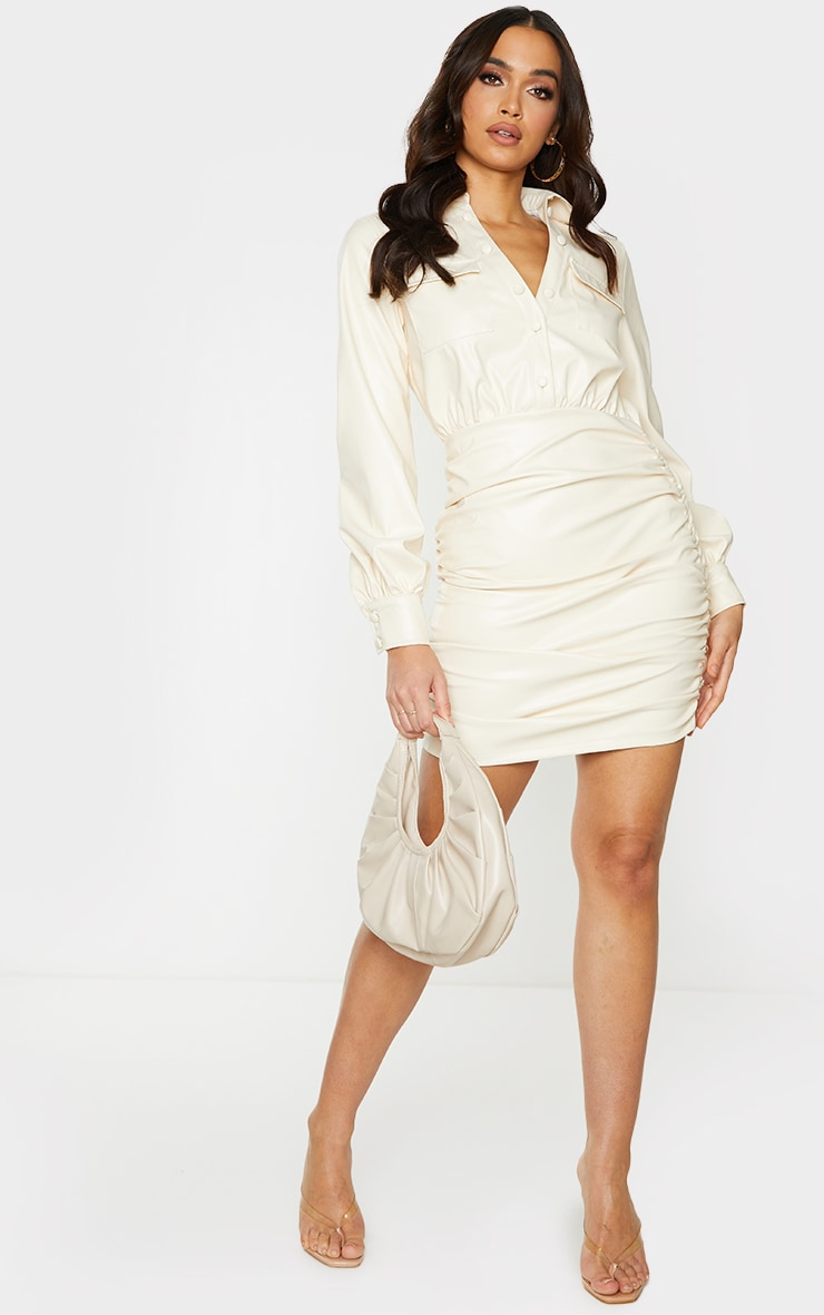 Cream PU Ruched Pocket Detail Shirt Style Bodycon Dress 3
