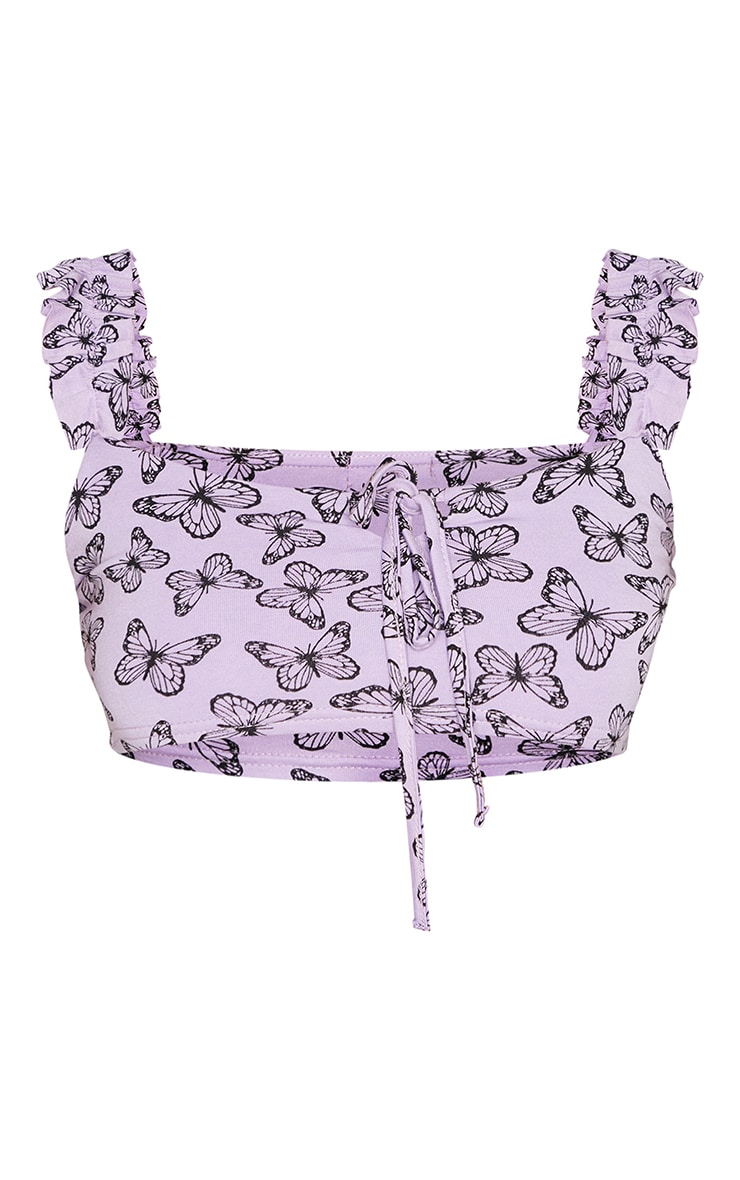 Purple Butterfly Print Floral Frill Keyhole Tie Crop Top 5