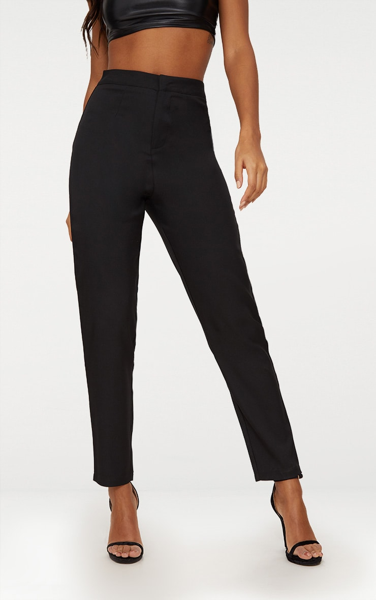 Black Straight Leg Tailored Trousers 4