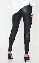 Black Button Up PU Skinny Pants 3