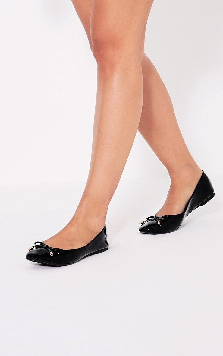 Tamika Black Patent Ballet Pumps 1