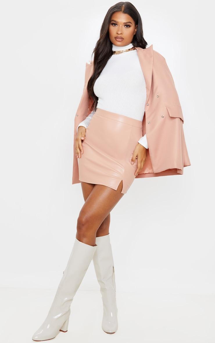 Blush Faux Leather Split Mini Skirt  1