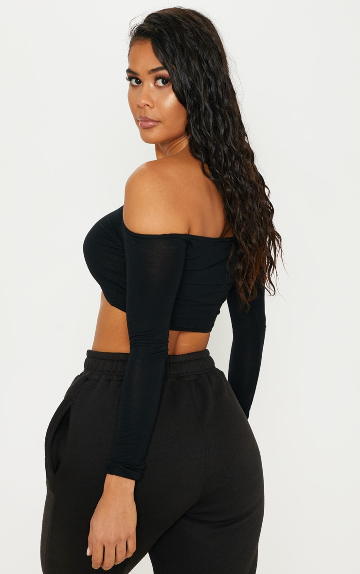 Basic Black Bardot Jersey Long Sleeve Top 2