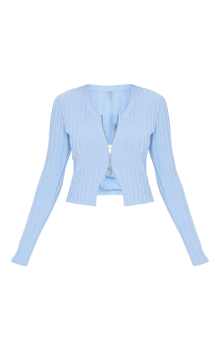 Baby Blue Double Ended Zip Wide Rib Knitted Top 5