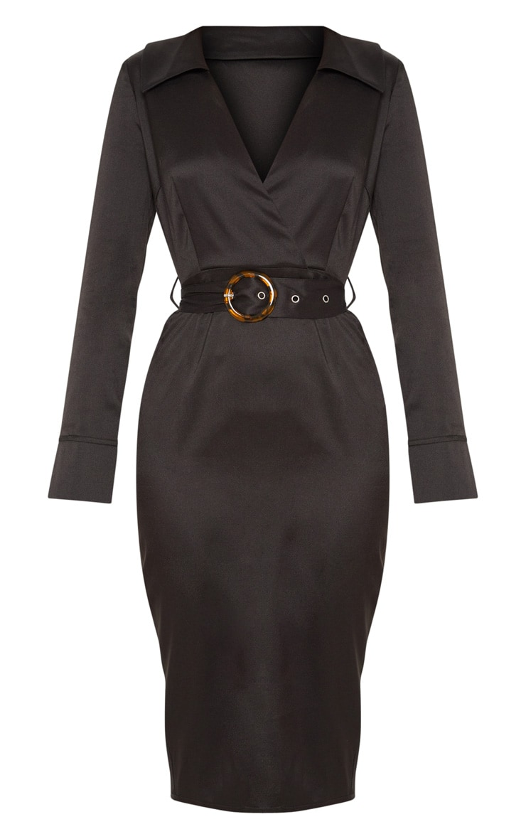 Black Tortoise Shell Buckle Midi Blazer Dress 3