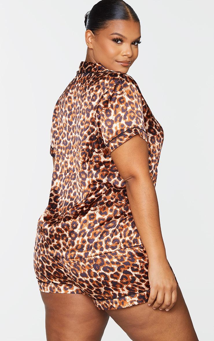 Plus Brown Leopard Button Up Short Satin PJ Set 2