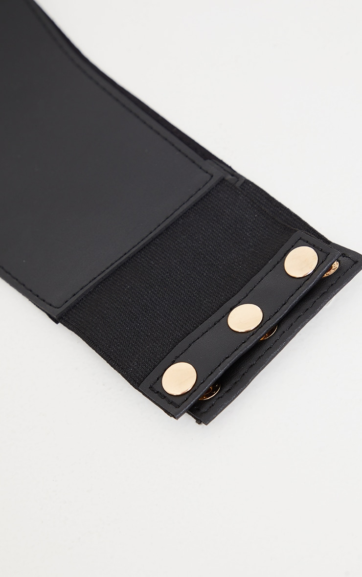 Black PU Criss Cross Lace Up Corset Belt 3