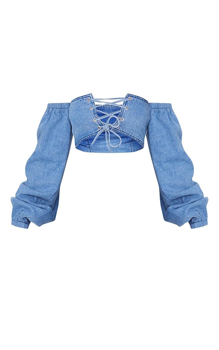 Mid Blue Wash Bardot Denim Crop Top 5
