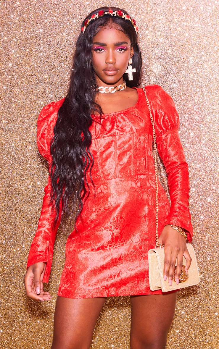 Red Jacquard Binding Detail Puff Sleeve Bodycon Dress 1