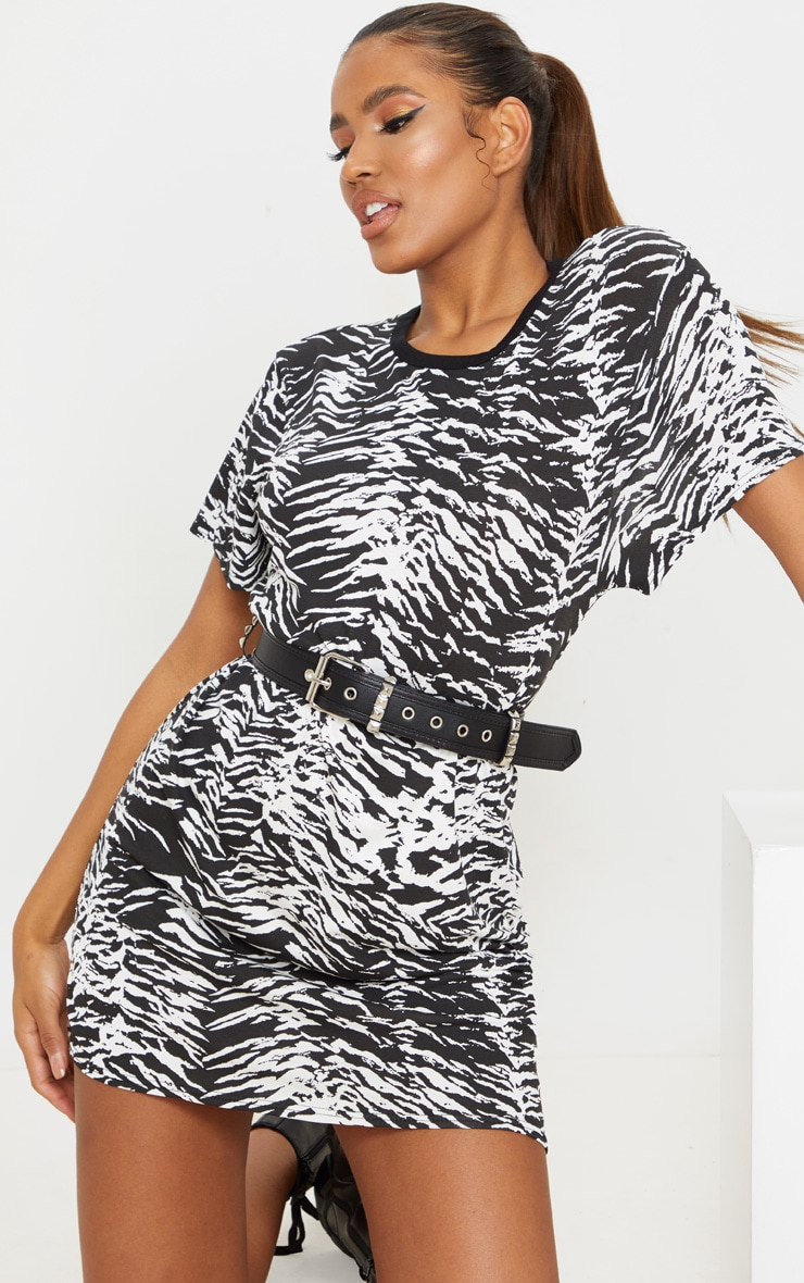 Black Zebra Print T Shirt Dress 1