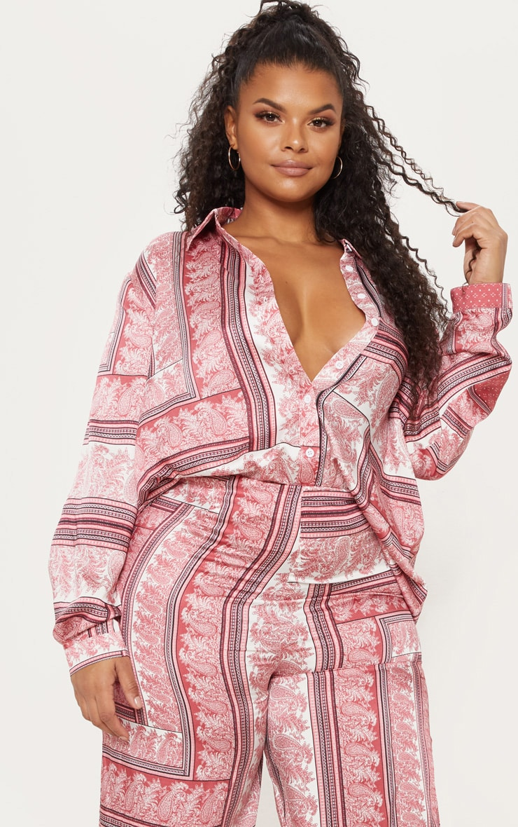 Plus Pink Scarf Print Oversized Shirt 1