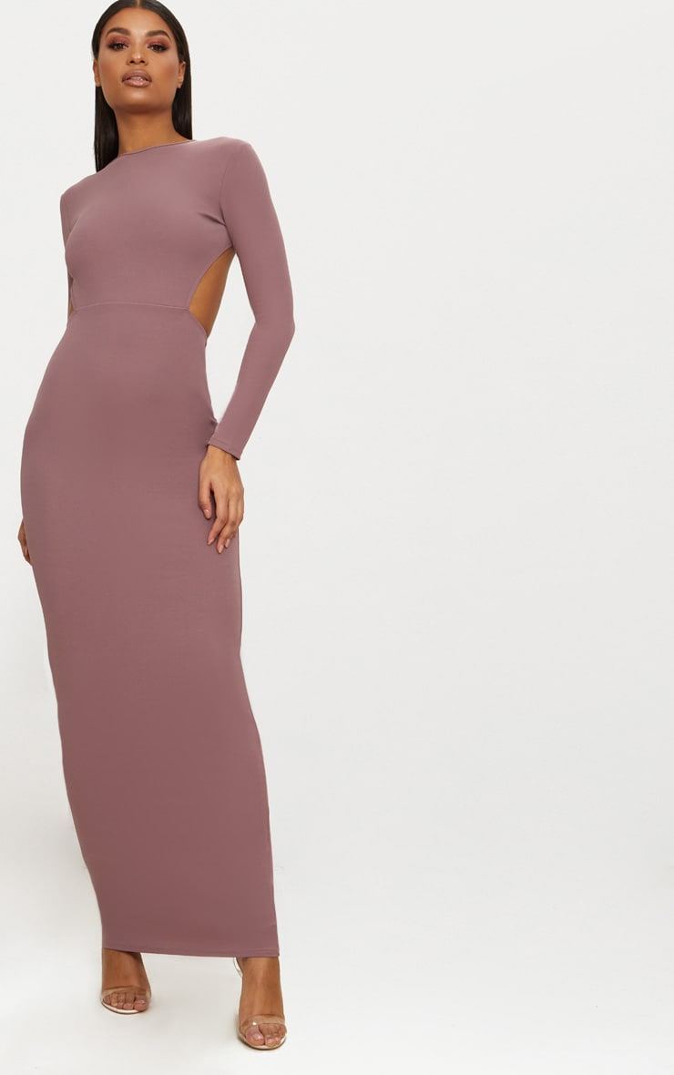 Dark Mauve Backless Long Sleeve Maxi Dress 2
