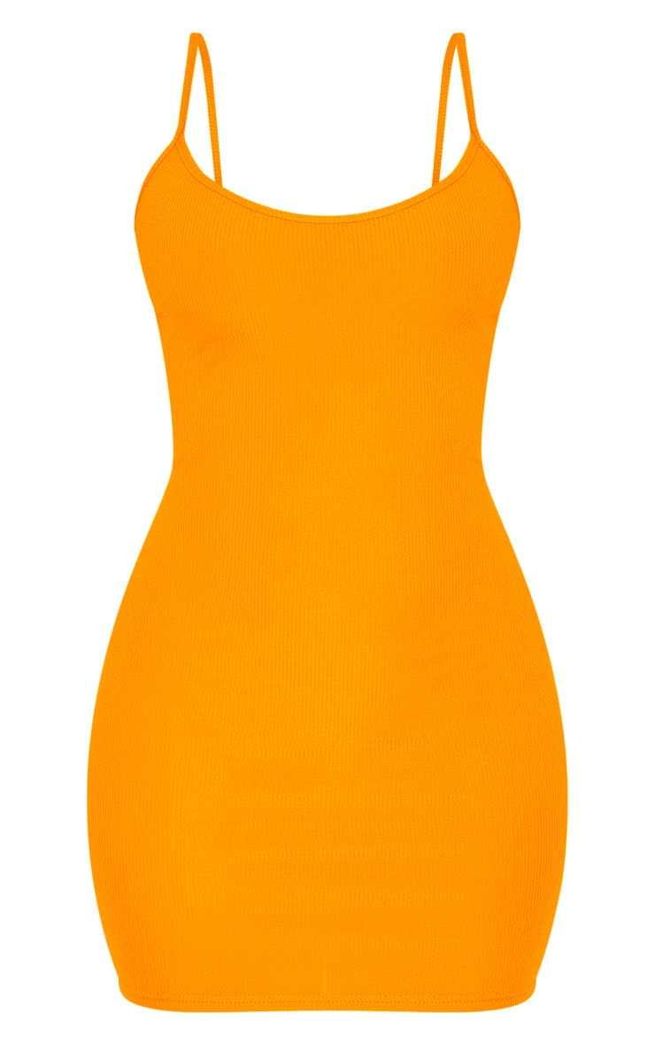 Neon Orange Strappy Ribbed Bodycon Dress 3