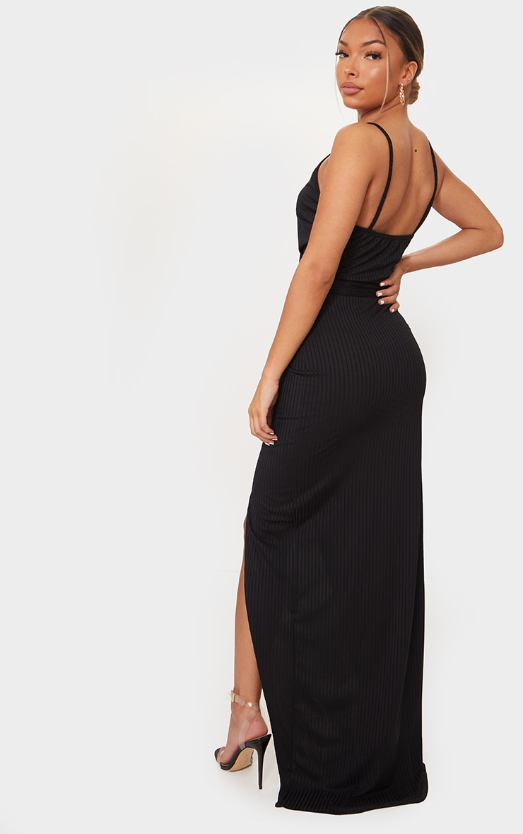 Black Ribbed Wrap Maxi Dress 2