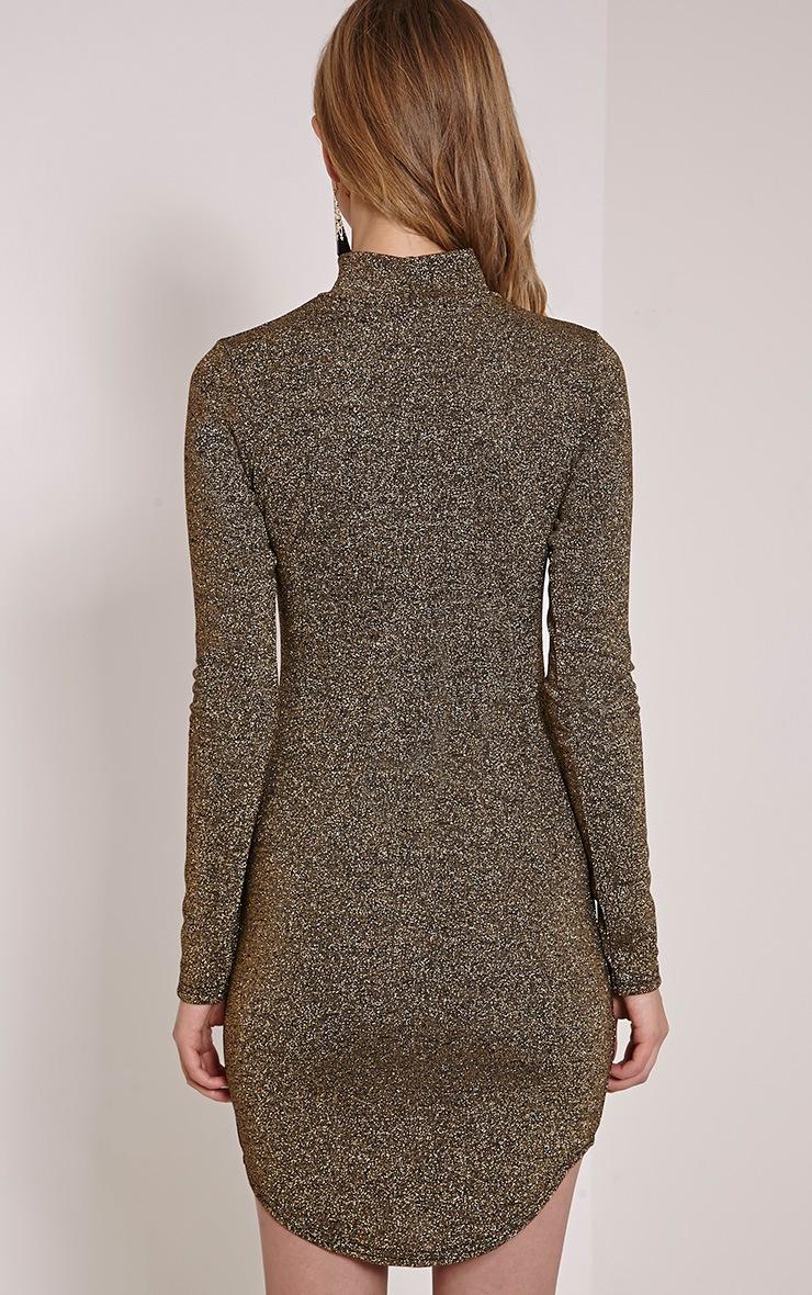 Alby Gold Shimmer Curve Hem High Neck Dress 2
