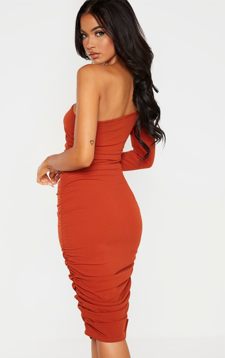 Rust One Shoulder Ruched Detail Midi Dress 2
