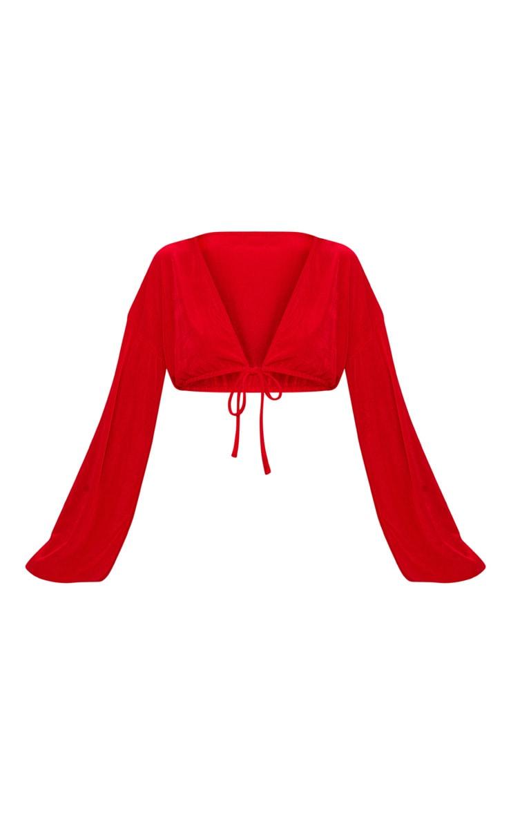 Red Slinky Drawstring Blouson Sleeve Crop Top 3