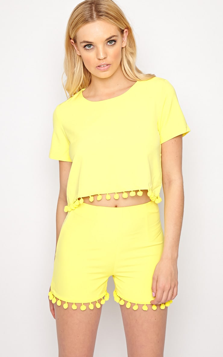 Sierra Yellow Pom Pom Crop Top  4