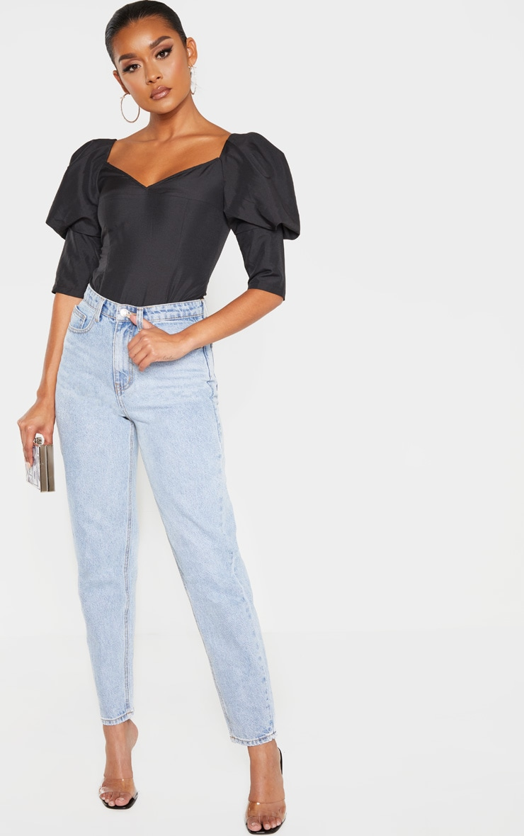 Black Woven Puff Sleeve Bodysuit 4