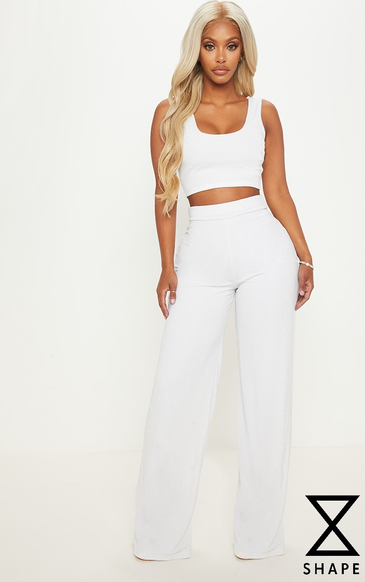Shape White Lurex Wide Leg Trouser  by Prettylittlething