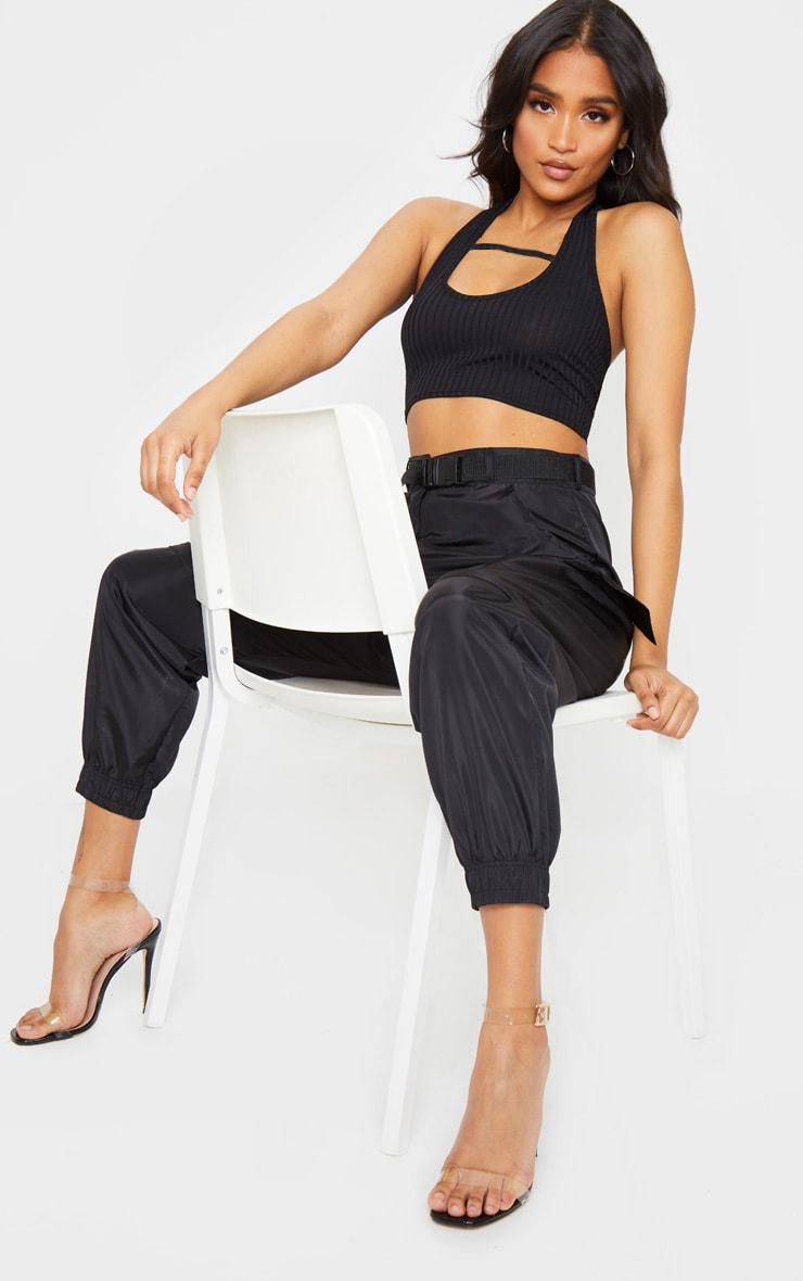 Black Rib Halterneck Cut Out Sleeveless Crop Top 3