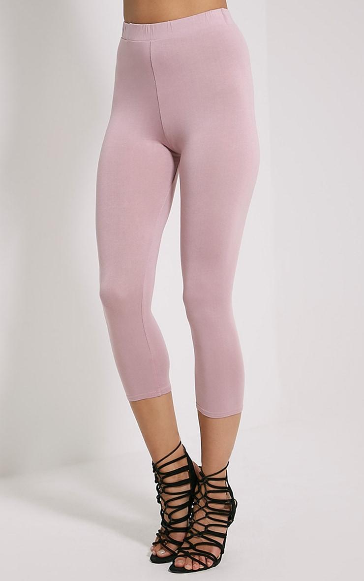 Basic Mauve Cropped Jersey Leggings 3