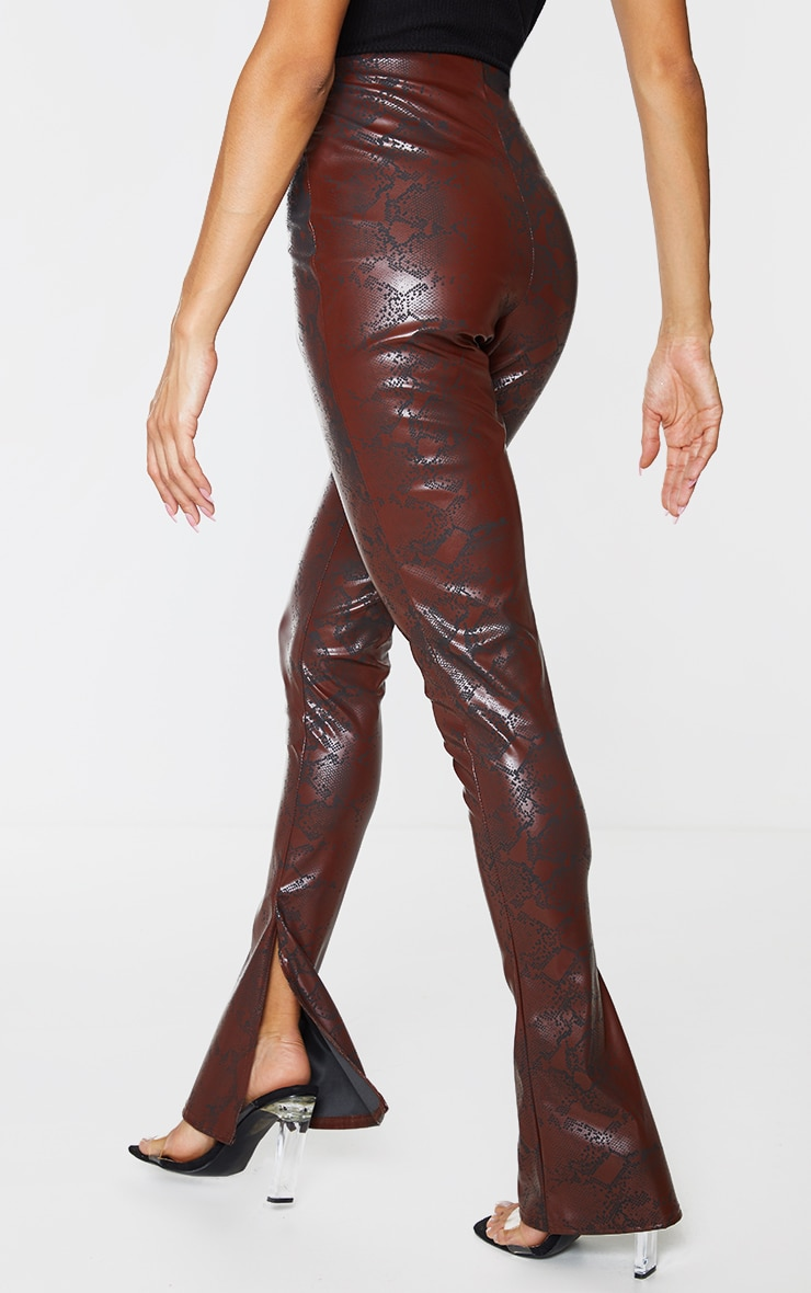 Chocolate Snake Faux Leather Kick Flare Skinny Trousers 3