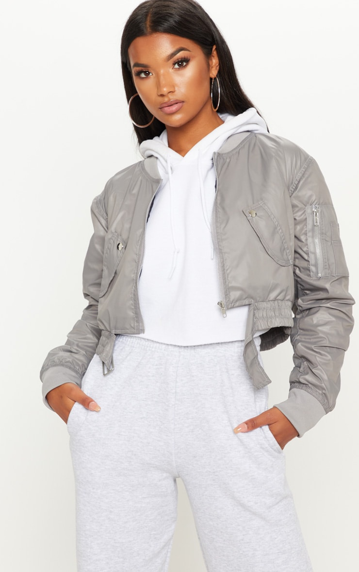 Grey Cropped Pocket Detail Bomber Jacket