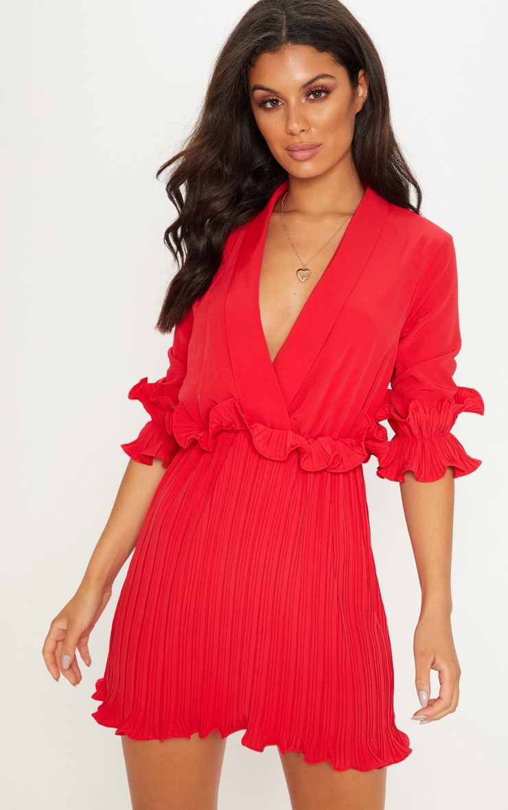 Red Frill Detail Pleated Skater Dress 2